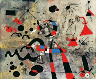 Miro', Joan (1893-1983): The Escape Ladder (LÕechelle de lÕevasion) 1940. New York, Museum of Modern Art (MoMA) Gouache, watercolor and brush and ink on paper, 15 3Ú4 x 18 3Ú4 (40x47,6 cm). Helen Acheson Bequest. 1978 *** Permission for usage must be provided in writing from Scala. May have restrictions - please contact Scala for details. ***